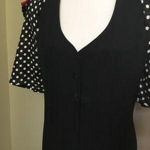 Vintage Pants - VINTAGE 80s black red Polka dot jumpsuit 11/12